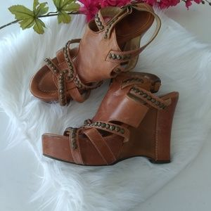 Frye Rosy Honeycomb Leather Wedge Size 10